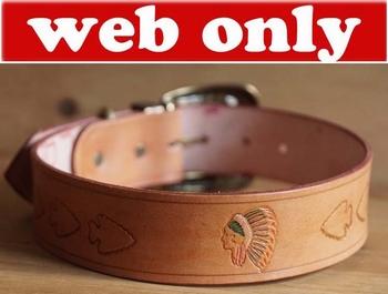 "Leren hondenhalsband  "" Indianen + stierenschedel ""  Beige"