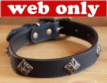 "Leren hondenhalsband  "" Sierconcho's  "" Zwart"