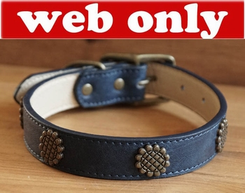 "Leren hondenhalsband  "" Zonnebloem  "" Blauw"