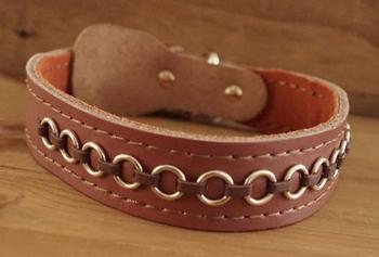"""Leren hondenhalsband  """" Ringen  """" Bruin"""