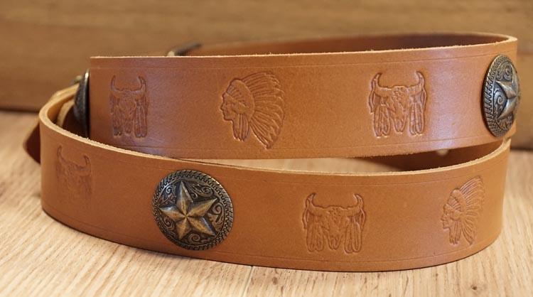 "Buckle riem "" Longhorns, indianen, concho Texas ster "" beige"