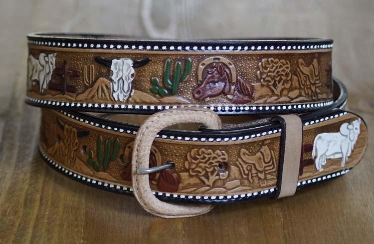 """Country riem """"  Paard, bizon, zadel, schedel  """"  Beige"""