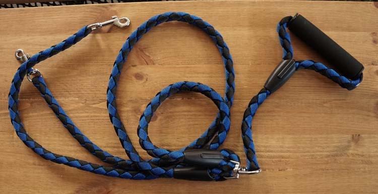 """Hond leiband voor 2 honden   """" Blauw / zwart """""""