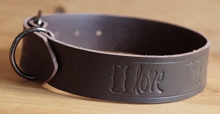 "Leren hondenhalsband  "" I love my dog ""  Bruin"