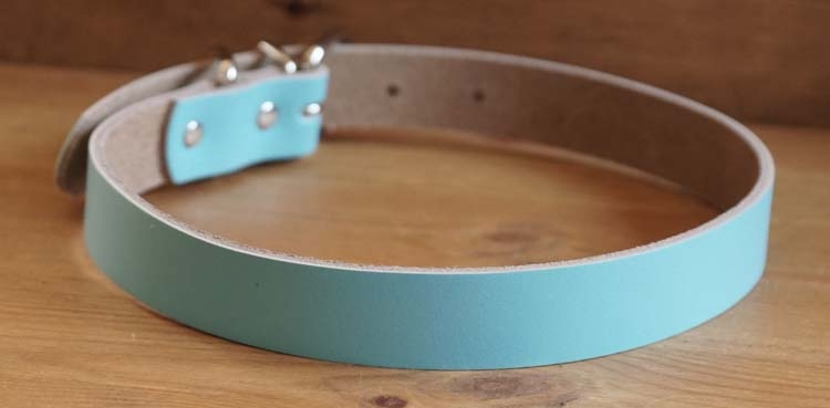 """Leren hondenhalsband  """" Licht blauw """""""