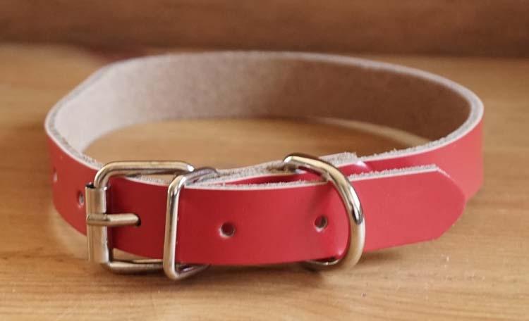 "Leren hondenhalsband  "" Rood """