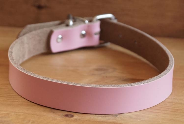 "Leren hondenhalsband  "" Roze """