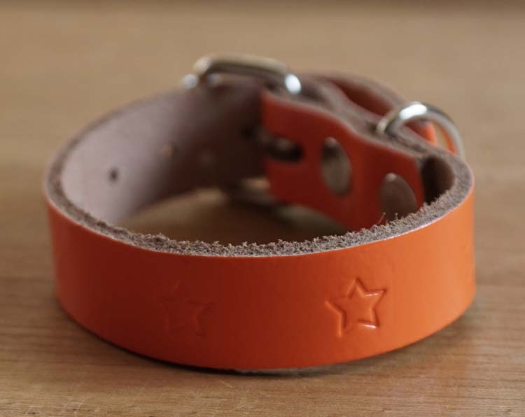 "Leren hondenhalsband  "" Sterren ""  oranje"