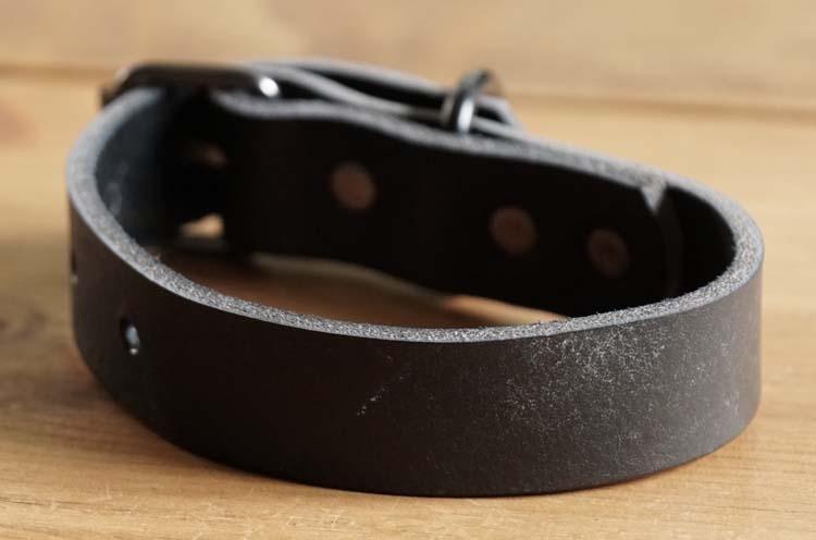 """Leren hondenhalsband  """" Zwart """""""
