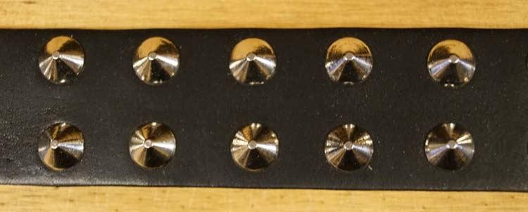 Leren hondenhalsband zwart met studs