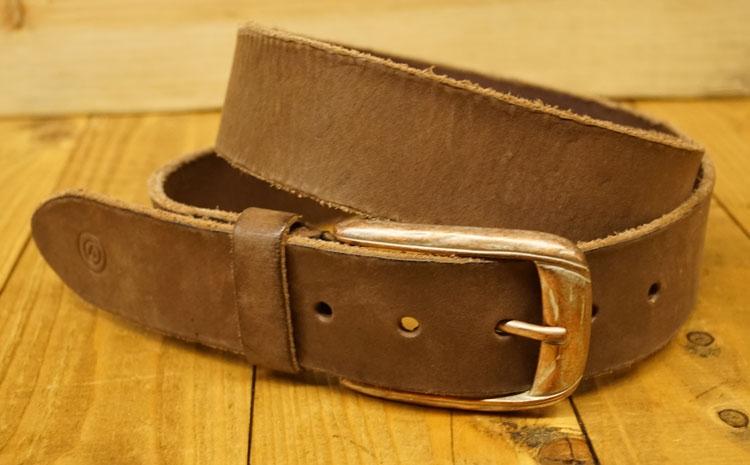 "Leren jeans riem  "" Vittozzi  "" 4 cm breed   Bruin"