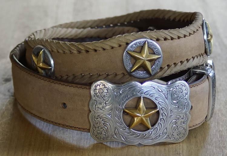 """Sterling zilver western buckle riem """" Gold star """" Beige"""