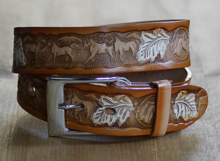 """Western riem """"  Paarden met bladeren """"   Beige"""