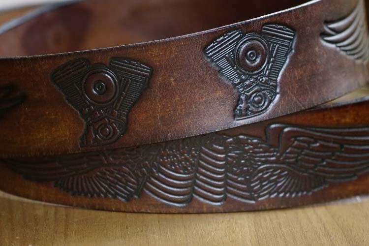 """Western riem  """" Vleugels + motorblokken  """"  Donker bruin"""